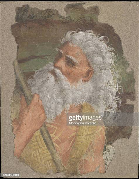 A Hermit Saint by Marco d'Oggiono 15th Century detached fresco