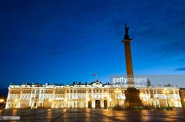 Hermitage museum in St Petersburg at Night