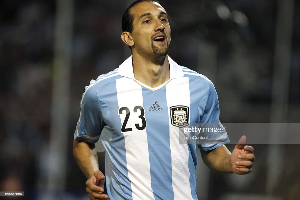 Hernan Barcos of Argentina reacts during a match between Argentina and Uruguay as part of the South American Qualifiers for the FIFA Brazil 2014 World Cup at Mundialista Stadium on October 12, 2012 in Mendoza, Argentina.