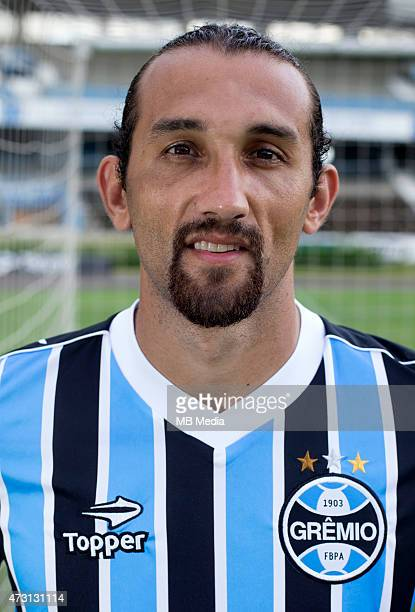 Hernan Barcos of Gremio FootBall Porto Alegrense poses during a portrait session on August 14 2014 in Porto AlegreBrazil