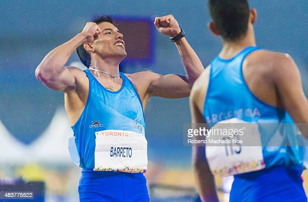 STADIUM TORONTO ONTARIO CANADA Hernan Barreto sets new Americas Record and wins the first Gold Medal for Argentina in the Men's 100m T35 Final during...