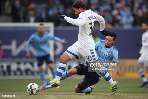 Hernan Bernardello of Montreal Impact is challenged by Jack Harrison of New York City FC during the New York City FC Vs Montreal Impact regular...