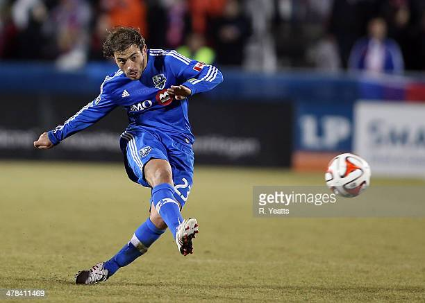 Hernan Bernardello of Montreal Impact passes the ball against the FC Dallas at Toyota Stadium on March 8 2014 in Frisco Texas