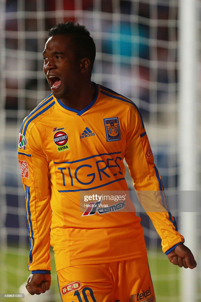 Hernan Burbano of Tigres celebrates after assists the first goal of his team during a quarterfinal first leg match between Pachuca and Tigres as part...