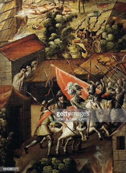 Hernan Cortes and his troops during the Noche Triste June 30 Mexico detail from the Screen with scenes of the Spanish conquest Battle at Tenochtitlan...