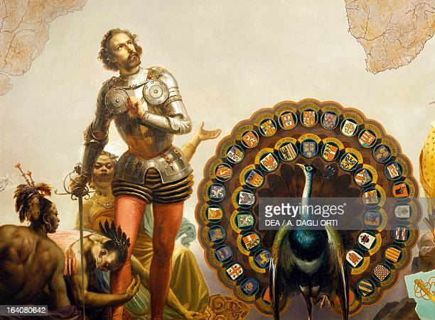 Hernan Cortes and the peacock with the coats of arms of the Spanish tributary nations detail from the Allegory of the Dominions of Charles V by Peter...