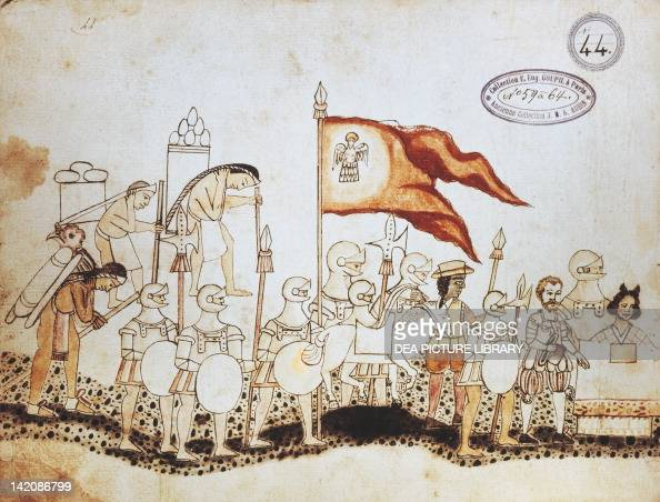 Hernan Cortes arriving in Mexico from The Codex Azcatitlan 5964 n 44 folio 22 verso ink drawing Mexico 16th Century