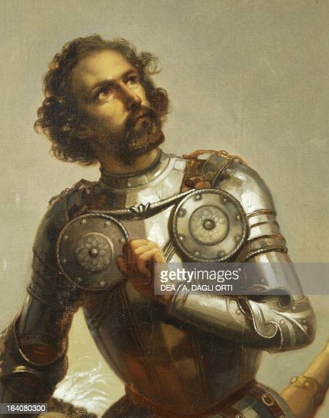 Hernan Cortes detail from Allegory on Charles V of Habsburg as Ruler of the world painting by Peter Johann Nepomuk Geiger Throne Room Miramare castle...