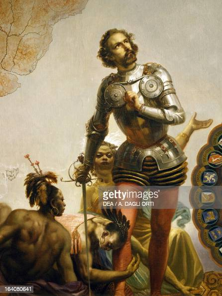 Hernan Cortes honored by the conquered Indians detail from the Allegory of the Dominions of Charles V by Peter Johann Nepomuk Geiger Throne Room...