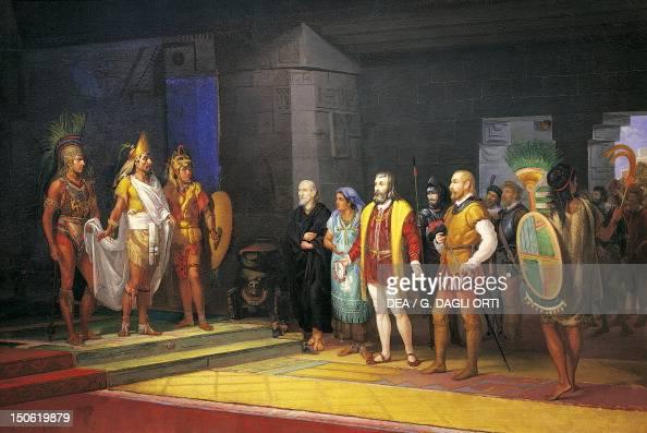 Hernan Cortes meeting Montezuma painting by Juan Ortega 1885 Mexico 16th century