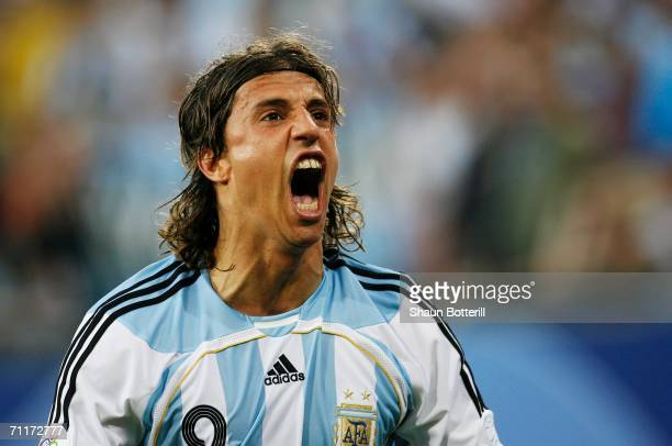 Hernan Crespo of Argentina celebrates scoring his team's first goal during the FIFA World Cup Germany 2006 Group C match between Argentina and Ivory...