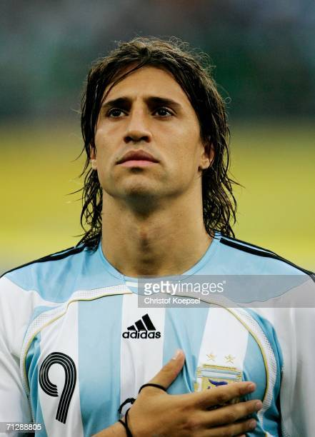 Hernan Crespo of Argentina stands for his country's national anthem prior to the FIFA World Cup Germany 2006 Round of 16 match between Argentina and...