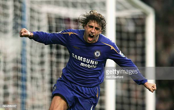 Hernan Crespo of Chelsea celebrates scoring his teams third goal during the Barclays Premiership match between Chelsea and Fulham at Stamford Bridge...