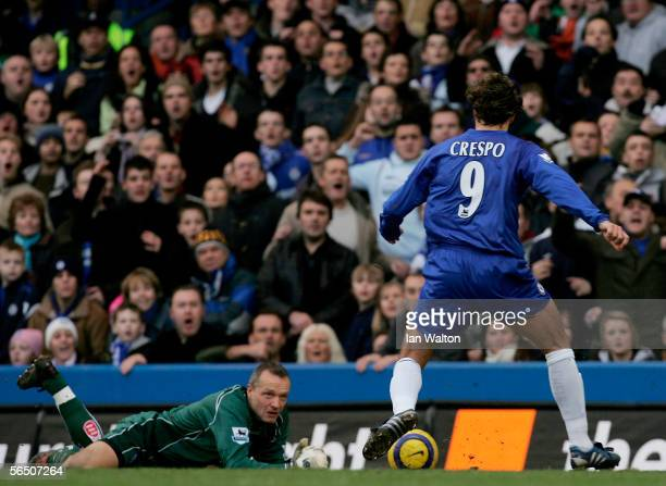 Hernan Crespo of Chelsea scores the first goal during the Barclays Premiership match between Chelsea and Birmingham City at Stamford Bridge on...
