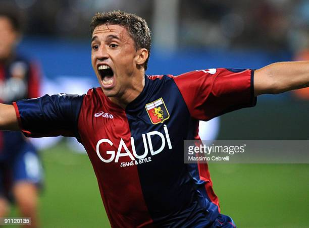 Hernan Crespo of Genoa CFC celebrates scoring his team's second goal during the Serie A match between Genoa CFC and SSC Juventus FC at Stadio Luigi...