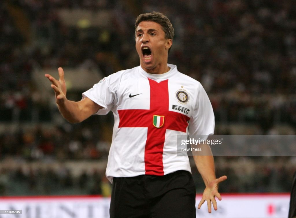 Hernan Crespo of Inter Milan celebrates a goal during the Serie A match between Roma and Inter Milan at the Stadio Olympico on September 29 2007 in...