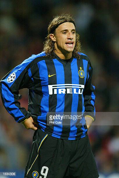 Hernan Crespo of Inter Milan during the UEFA Champions League First Phase Group D match between Lyon and Inter Milan at the Stade de Gerland in Lyon...