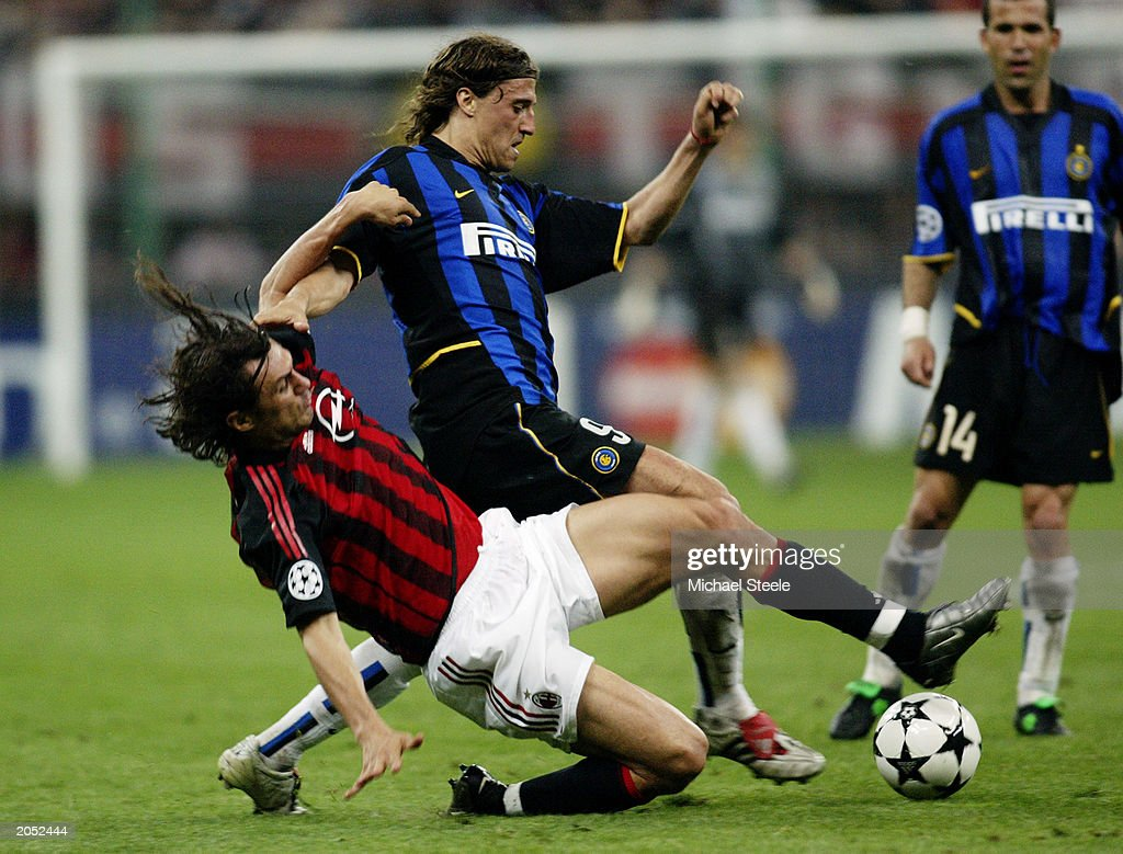 Hernan Crespo of Inter Milan and Paolo Maldini of AC Milan