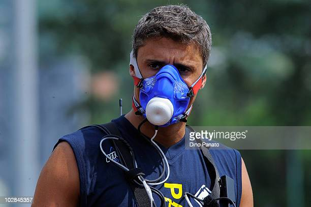 Hernan Crespo of Parma during medical tests at a preseason training session on July 13 2010 in Levico Terme near Trento Italy