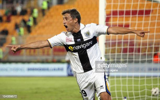 Hernan Crespo of Parma FC celebrates his goal during the Serie A match between Lecce and Parma at Stadio Via del Mare on September 22 2010 in Lecce...