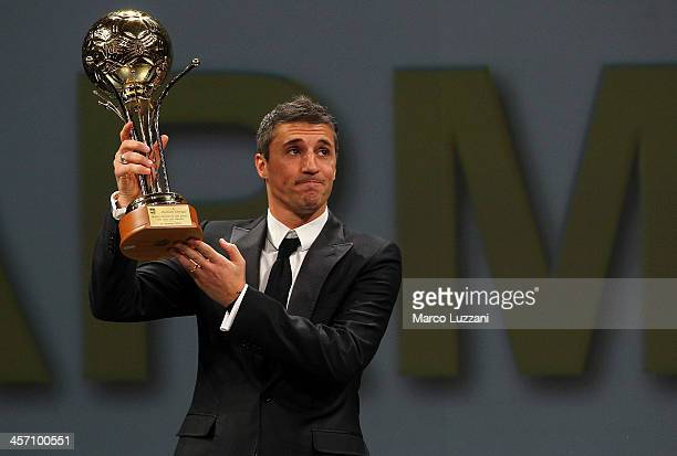 Hernan Crespo receives the award for best player of FC Parma ever during FC Parma 100 years Anniversary at Teatro Regio on December 16 2013 in Parma...