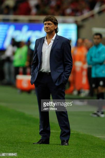 Hernan Cristante coach of Toluca during a match between Chivas and Toluca as part of the Torneo Apertura 2017 Liga MX at Chivas Stadium on July 22...