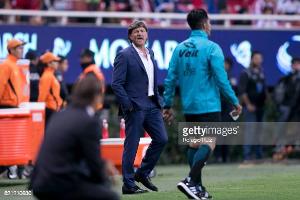 Hernan Cristante coach of Toluca gives instructions during the 1st round match between Chivas and Toluca as part of the Torneo Apertura 2017 Liga MX...