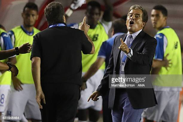 Hernan Dario Gomez the head coach / manager of Panama and Jorge Luis Pinto the head coach / manager of Honduras confront each other during the Copa...