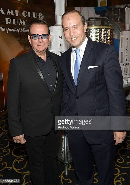 Hernan Echevarria and Tomas Regalado attend the Miami Club Rum Official Partnership Launch with William Levy at Ritz Carlton South Beach on February...
