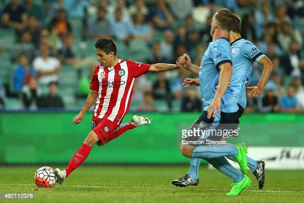 Hernan Espindola of Melbourne City FC takes a shot at goal during the round one ALeague match between Sydney FC and Melbourne City FC at Allianz...