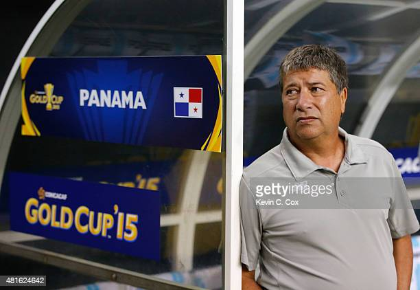 Hernan Gomez of Colombia stands prior to the 2015 CONCACAF Golf Cup Semifinal match between Mexico and Panama at Georgia Dome on July 22 2015 in...
