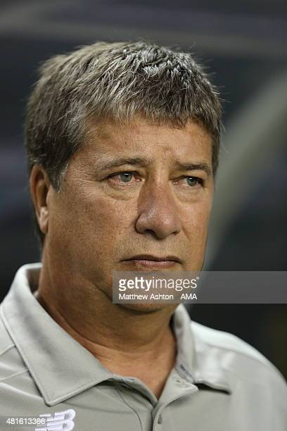 Hernan Gomez the head coach / manager of Panama during the Gold Cup Semi Final between Panama and Mexico at Georgia Dome on July 22 2015 in Atlanta...