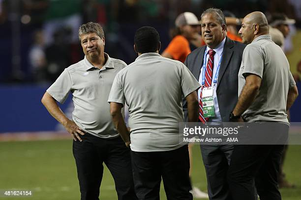 Hernan Gomez the head coach / manager of Panama stands around with his staff and delegate after the CONCACAF Gold Cup 2015 Semi Final between Panama...