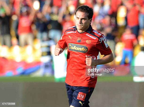 Hernan Hechalar of Independiente Medellin celebrates a scored goal during a match between Independiente Medellin and Atletico Junior at Atanasio...