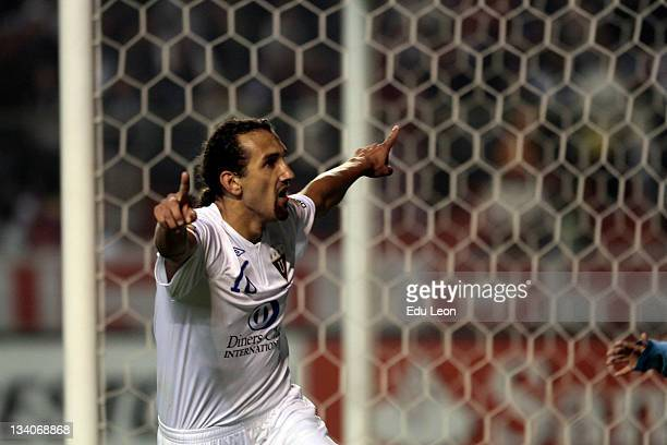 Hernan Marcos from Liga Deportiva Universitaria celebrate a goal during a match between Liga Universitaria de Quito and Velez Sarfield as part of the...