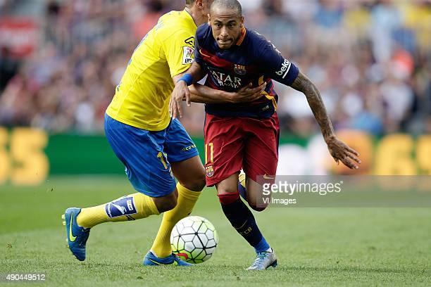 Hernan of Las Palmas Neymar Jr of FC Barcelona during the Primera Division match between FC Barcelona and Las Palmas on September 26 2015 at Camp Nou...