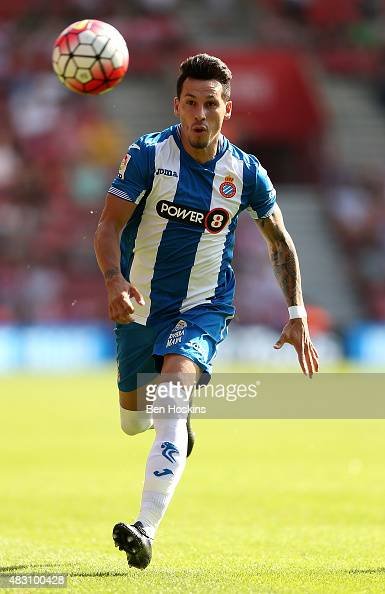 Hernan Perez of Espanyol in action during the pre season friendly match between Southampton and Espanyol at St Mary's Stadium on August 2 2015 in...