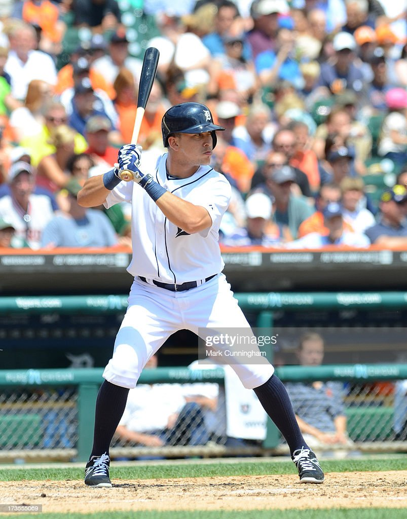 Hernan Perez of the Detroit Tigers bats during the game against the Chicago White Sox at Comerica Park on July 11 2013 in Detroit Michigan The White...