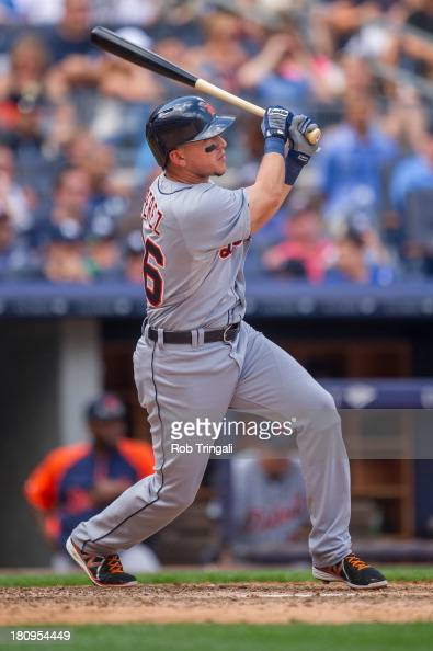 Hernan Perez of the Detroit Tigers bats during the game against the New York Yankees at Yankee Stadium on August 10 2013 in the Bronx borough of...