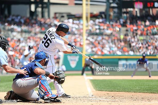 Hernan Perez of the Detroit Tigers bats in the third inning of the game against the Texas Rangers at Comerica Park on July 14 2013 in Detroit...