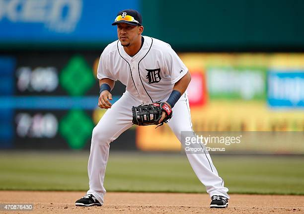 Hernan Perez of the Detroit Tigers during the game against the Minnesota Twins at Comerica Park on April 8 2015 in Detroit Michigan