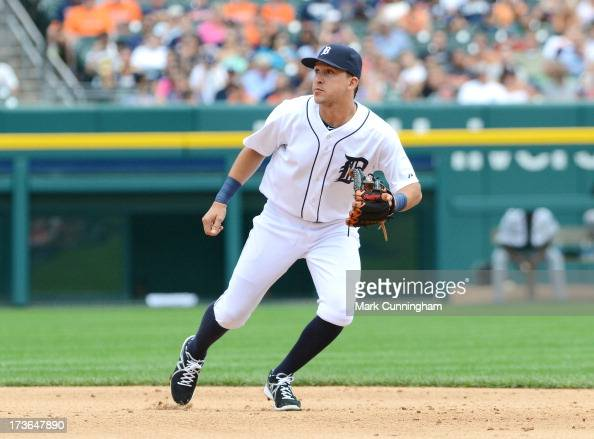 Hernan Perez of the Detroit Tigers fields during the game against the Chicago White Sox at Comerica Park on July 11 2013 in Detroit Michigan The...