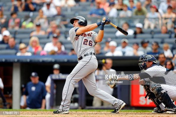 Hernan Perez of the Detroit Tigers in action against the New York Yankees at Yankee Stadium on August 11 2013 in the Bronx borough of New York City...