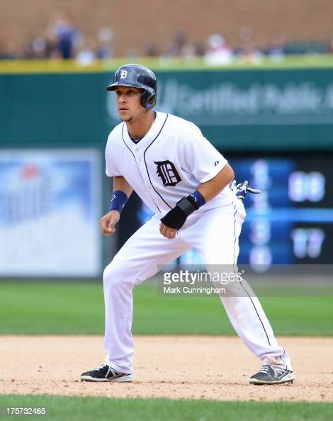 Hernan Perez of the Detroit Tigers leads off first base during the game against the Philadelphia Phillies at Comerica Park on July 28 2013 in Detroit...