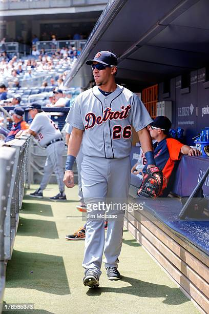 Hernan Perez of the Detroit Tigers looks on before a game against the New York Yankees at Yankee Stadium on August 11 2013 in the Bronx borough of...