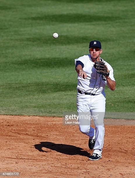 Hernan Perez of the Detroit Tigers makes the throw to first base during the game against the Houston Astros on May 23 2015 at Comerica Park in...