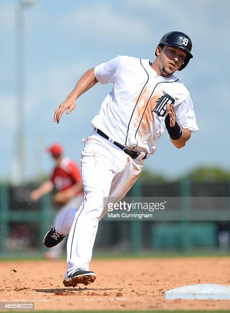 Hernan Perez of the Detroit Tigers runs the bases during the Spring Training game against the Florida Southern College Moccasins at Joker Marchant...