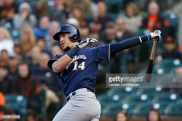 Hernan Perez of the Milwaukee Brewers at bat int the first inning against the San Francisco Giants at ATT Park on June 14 2016 in San Francisco...