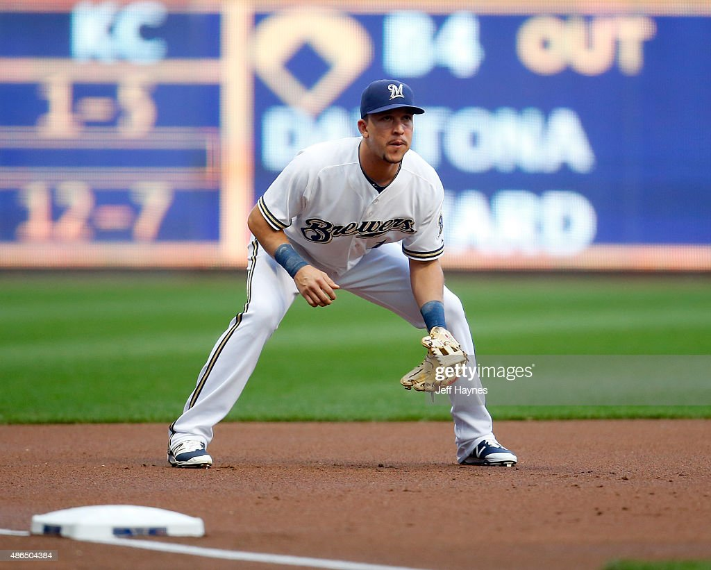 Hernan Perez of the Milwaukee Brewers at third against the Pittsburgh Pirates at Miller Park on September 3 2015 in Milwaukee Wisconsin