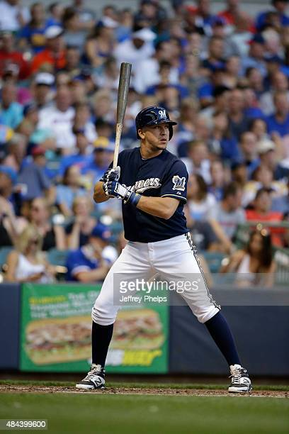 Hernan Perez of the Milwaukee Brewers bats against the Chicago Cubs at Miller Park on July 30 2015 in Milwaukee Wisconsin